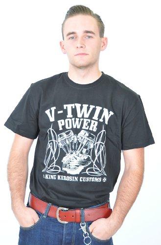 King Kerosin Oldschool V-TWIN POWER Vintage T-Shirt - Schwarz Rockabilly Schwarz mit Motivprint