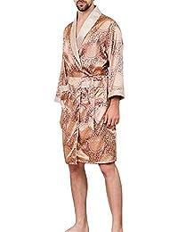 12c3aa006f Gli Uomini 2019 di Lusso in Seta Sintetica Sleeping Robes Maschio Primavera  Autunno Manica Lunga Moda Stampato Accappatoio da Uomo di Seta…