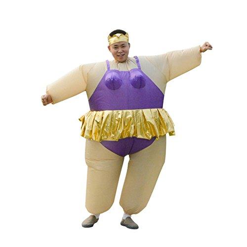 Aufblasbares Kostüm Fatsuit Ballerina Fasching Verkleidung, Fastnacht, Karneval, Mottoparty Kostüm Weiß / Lila Einheitsgröße