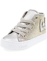 LIU-JO GIRL Scarpe Alte Lacci E Zip Glitter E Logo LJ Bimba L1A420005 Oro 771ed31cb35
