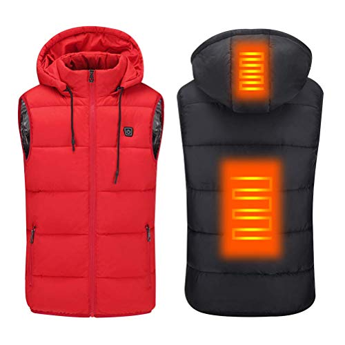 Bobopai Unisex Heated Vest Lightweight USB Electric Carbon Fiber Heating Heatable Vest for Outdoor Cycling Skiing Camping (Red) -