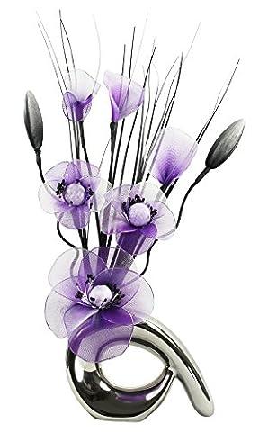Flourish–723408- qh1Petit vase avec Cadbury Violet/Blanc Nylon Fleur artificielle en vase, décoration, maison Accessorie, 32cm, violet