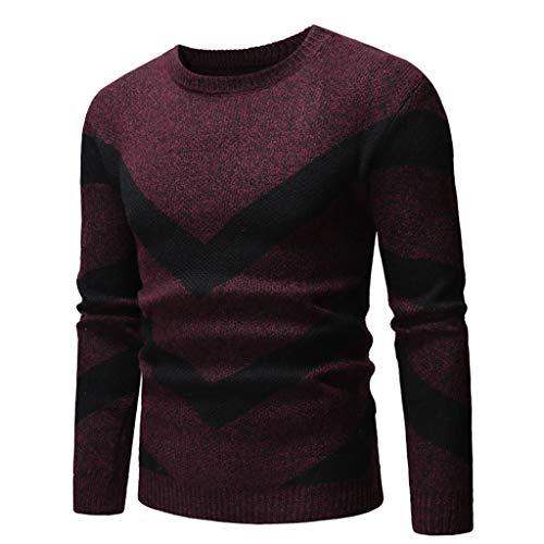 Xmiral Pullover Herren Langarm O Neck Bluse Patchwork Reißverschluss Design Shirt Top (M, t Rot)