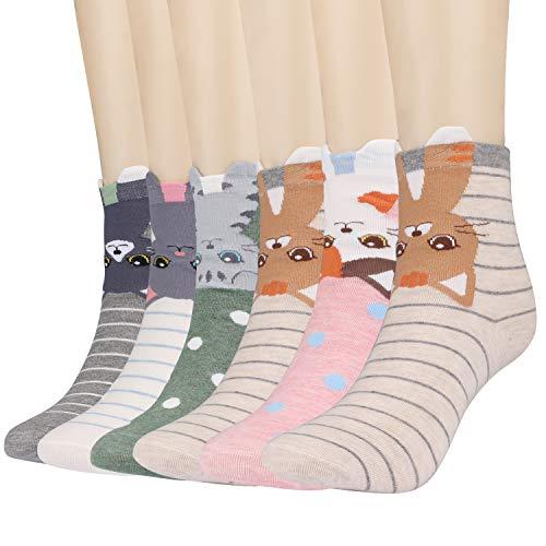 Xddias 6 Paar Classic Casual Socken Lässige Baumwolle Socken, Thermal Erwachsene Tiere Muster Socken für Mädchen Damen Frauen - Damen Tier