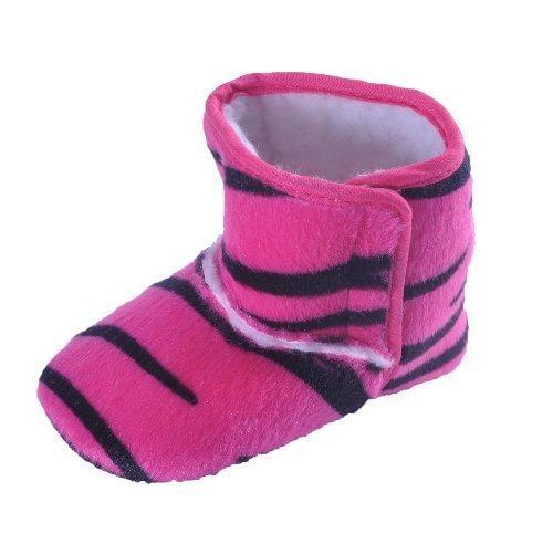 Style Nuvo Hübsche Mädchen Wiege Baby Schuhe Warme Stiefel Fleece Gefüttert Animal Drucke Rosa Zebra (Dunkel Rosa, Schwarz)