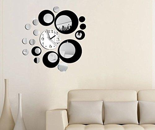 Silver Mirror argento cerchio nero Orologio di parete creativo ...