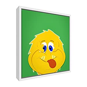 Feel Good Art Eco-Printed and Framed Nursery Canvas with solid White Wooden Frame (30 x 30 x 3 cm, Small, Green, Sid the Silly Monster)