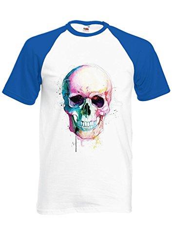 Colour Color Skull Skeleton Tumblr Novelty Royal Blue/White Men Women Unisex Shirt Sleeve Baseball T