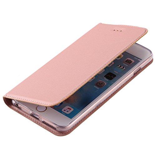 EKINHUI Case Cover Solid Color Synthetik Leder Telefon Fall, Magnetverschluss Bookstyle Folio Stand Case mit Card Slot für iPhone 6 Plus & 6s Plus ( Color : Gold ) Rosegold