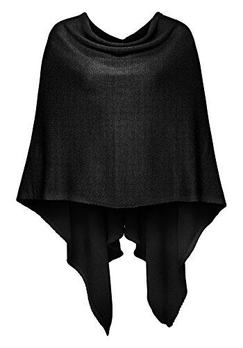 Poncho-Schal aus Baumwolle - Hochwertiges Cape für Damen - XXL Umhängetuch und Tunika - Strick-Pullover - Sweatshirt - Stola für Sommer und Winter von Cashmere Dreams - Zwillingsherz (black)