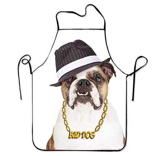 Travis Carr Lustige Design Schürze Bulldogge tragen Bad Dog Goldkette Halskette und Gangster Hut wasserdicht Kreative für Frauen Männer Kellnerin Chef Home Barber Küche Gartenarbeit