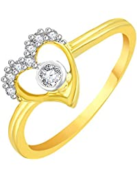 Vidhi Jewels Gold Plated Centre Diamond Heart Pattern Alloy & Brass Finger Ring For Women And Girls [VFR433G]