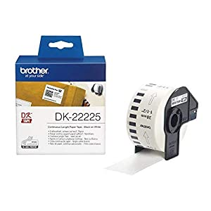 Brother DK-22225 Label Roll, Continuous Length Paper, Black on White, 38 mm (W) x 30.48 m (L), Brother Genuine Supplies