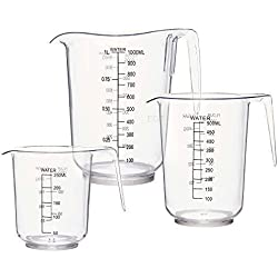 3 pc juego de jarra medidora de plástico transparente