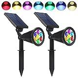 Solarleuchten 2 Stück Solar Gartenleuchten Outdoor Spotlight,7 LED Multicolor Solar Gartenlampe Wasserdicht für Hinterhöfe, Gärten, Rasen usw