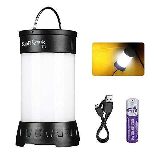 Supfire Linterna Camping LED Farol Impermeable 800 Lumens Lámparas Camping con Base Magnética y 18650 Bateria Incluida,Recargable con Cable USB Directamente,5 Modos de Luz para Camping Pesca,Modelo T1