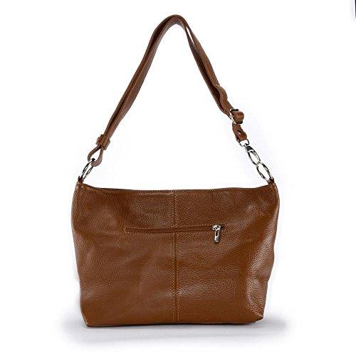 OH MY BAG Handtasche aus leder, damen, schultertaschen und umhängetaschen Modell KUTA DUNKELCOGNAC