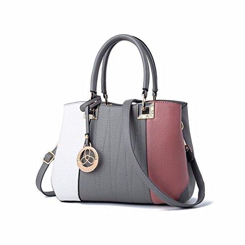 MSZYZ Weihnachtsgeschenke Frauen Patchwork Pu Leder Umhängetaschen Top-Handle Handtasche Tasche Weiß Grau Rosa