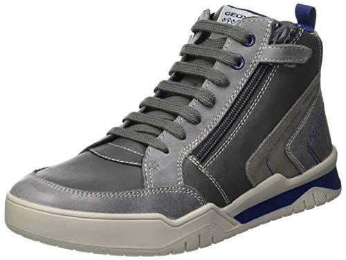 Geox Jungen J Perth Boy B Hohe Sneaker, Grau (Grey/Blue C0244), 39 EU Hohe Reißverschluss