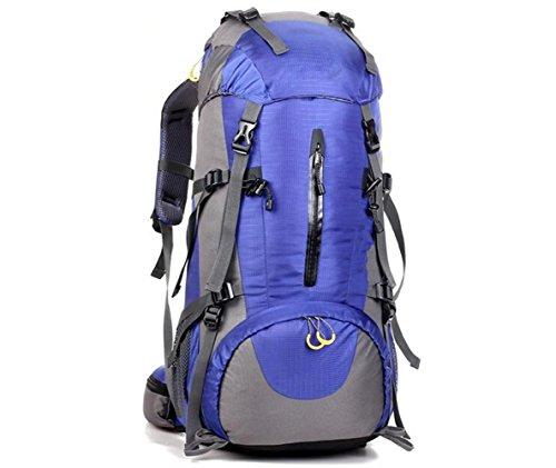 GOUQIN Outdoor Rucksack Klassische Mode 45+5 L Multifunktion Klettern Taschen Wasserdicht Tragen Walking Paket Masse Rucksäcke Blau