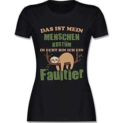 Karneval & Fasching - Das ist Mein Menschen Kostüm in echt Bin ich EIN Faultier schlafend - S - Schwarz - L191 - Damen Tshirt und Frauen T-Shirt (Kostüm Für Schwarze Menschen)