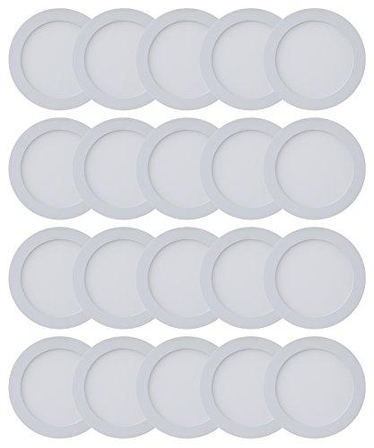 Ledwell Panel 20er Pack 12W Kaltweiß Aufbau Putz Leuchte Rund Ultraslim mit Rahmen Wohnzimmer Deckenleuchte Einbauleuchte Deckenlampe inkl. Trafo Jvc Pack