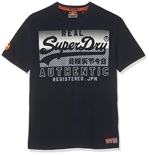 Superdry Herren V Logo Reactive Classic Box Fit Tee T-Shirt, Blau (Eclipse Navy 98t), Large (Herstellergröße: L) -