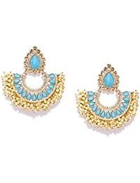 Zaveri Pearls Gold Tone Traditional Pearls Beaded Dangle Earring For Women-ZPFK7344