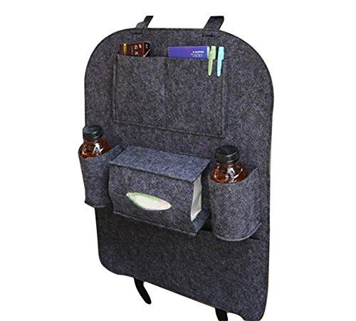 Vi.yo Auto Organizer Rückenlehne Taschen Fahrzeug Multi-funktionalen nutzen Lagerung Organizer Spielraum-Speicher-Beutel-Korb Größe 39 x 57 cm (Dunkelgrau)