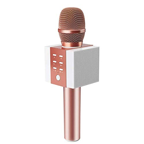 Wireless bluetooth 4.2 Karaoke Microphone,NASUM, Mikrofon Karaoke tragbar drahtlos als Lautsprecher für PC, Laptop, iPhone, iPod, iPad, und Android/iOS oder alle Smartphone (Rosegolden) Bluetooth Wireless Mikrofon