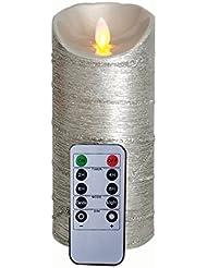 Paillettes argentées à distance inclus Flamme Mobile Mèche Bougie avec minuterie, Cire Véritable Bougie pilier (3.2'X7')