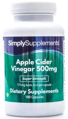Apfelessig 500mg - 180 Kapseln - Versorgung für bis zu 3 Monaten - unterstützt die Gewichtsabnahme - Simply Supplements