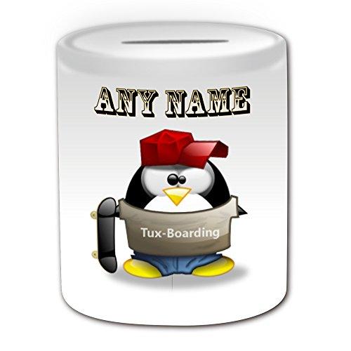 Personalisiertes Geschenk–Skaten Spardose (Design Pinguin in Kostüm Thema, weiß)–alle Nachricht/Name auf Ihre einzigartige–Boarding Extreme Sport (Themen Besten Sport Kostüme)