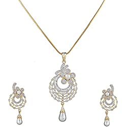 Sitashi Fashion Jewelry 18 K Gold Plated Ad/American Diamond Floral Design Pendant Set for Girls and Women