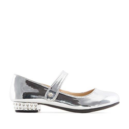 Andres Machado Silberner Mary Jane Schuh für Kinder aus silbernem Lack Gr. 33