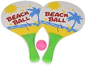 Idena 7408448-Beach Ball Set de 2Raquetas y 1Pelota de Madera