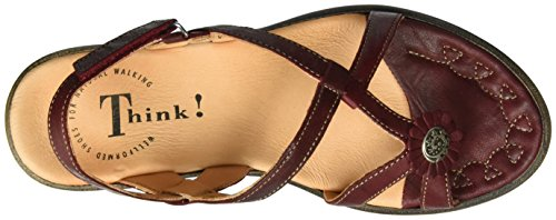 Think! Nanet, Sandales Bout Ouvert Femme Rouge (Rosso/Kombi 72)