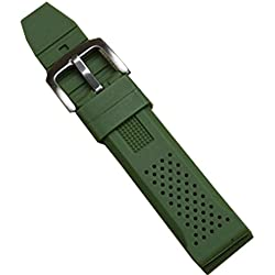 New Green Silicone Rubber Diver Watch Strap Band Waterproof Sport Buckle 22mm