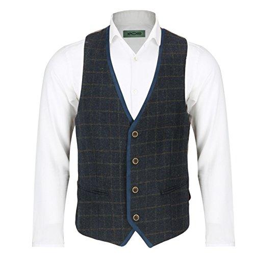 xposed-herren-anzug-karo-gr-46-waistcoat-pwc-navy-blue
