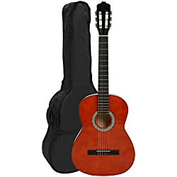 NAVARRA NV11 - Guitarra clásica 4/4 honey con bordes negro incl. funda con correas tipo mochila y bolsillo para partituras/accesorios, 2 Púa