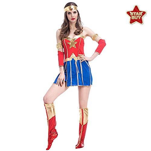 Damen Beängstigend Kostüm - COSOER Superman Heldin Kostüme Halloween Make-up Party Cosplay Kleidung,Redblue-M
