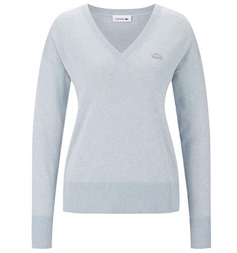 Lacoste AF1782 Damen Pullover V-Ausschnitt,Frauen Basic Strickpullover,Freizeit und Business Pulli,Regular Fit,Baumwolle,Junk Blue Chine(ABT), 40