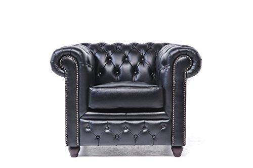 Original Chesterfield Sessel – 1 Sitzer – Vollständig Handgewaschenes Leder – Schwarz