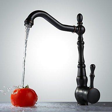 SHUYOU® Retro Oil Rubbed Bronze Finish One Hole Single Handle Rotatable Bathroom Sink Faucet