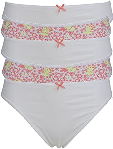 Ex Store Multipack High Leg Cotton Rich Knickers 5 Pack White Floral 14