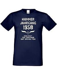 Geschenk-Set zum 59. Geburtstag : Hammer Jahrgang 1958 Herren Männer Kurzarm T-Shirt & Urkunde - Lustige Geschenkidee Geburtstagsgeschenk für Ihn Farbe: navy-blau