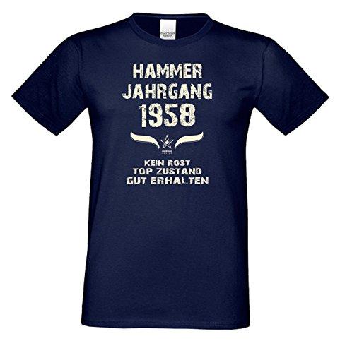 Geschenk zum 59. Geburtstag :-: Geschenkidee kurzarm Geburtstags-Sprüche-T-Shirt mit Jahreszahl :-: Hammer Jahrgang 1958 :-: Geburtstagsgeschenk für Männer :-: Farbe: navy-blau Navy-Blau