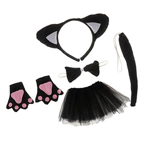 Sharplace Katze Tier Handschuhe Stirnband Tutu Schleife Schwanz Kinder Kit Set Kostüm ()
