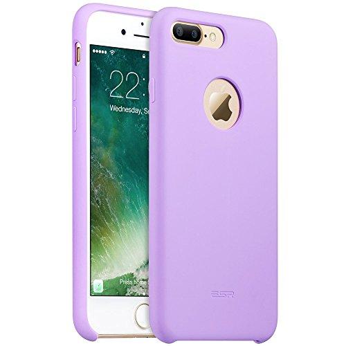 iPhone 7 Plus Hülle (5,5 Zoll), ESR® Liquid Silikon Schutzhülle mit Apple-Logo Loch Stoßdämpfung Flüssigsilikon Hülle für iPhone 7 Plus (Grau) Lila