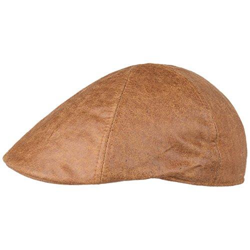 Lipodo Used Look Flatcap Herren | Schirmmütze aus 60% Baumwolle, 40% Polyester | Cap in S (55-56 cm) | Mütze in Braun